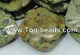 CRH77 15.5 inches 30*30mm faceted rhombic rhyolite beads wholesale