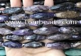 CRI114 15.5 inches 10*30mm faceted rice charoite gemstone beads