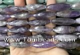 CRI118 15.5 inches 10*30mm faceted rice amethyst gemstone beads