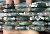CRI129 15.5 inches 10*30mm faceted rice moss agate beads