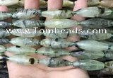 CRI133 15.5 inches 10*30mm faceted rice green rutilated quartz beads