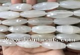 CRI135 15.5 inches 10*30mm faceted rice moonstone gemstone beads