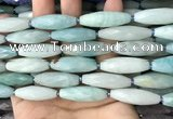 CRI142 15.5 inches 10*30mm faceted rice amazonite gemstone beads