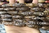 CRI150 15.5 inches 10*30mm faceted rice opal gemstone beads