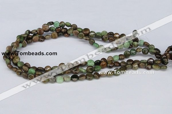 CRJ01 15.5 inches 8mm flat round african prase jasper beads wholesale