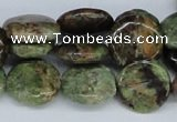 CRJ03 15.5 inches 16mm flat round african prase jasper beads wholesale