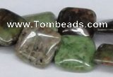 CRJ06 15.5 inches 20*20mm square african prase jasper beads wholesale