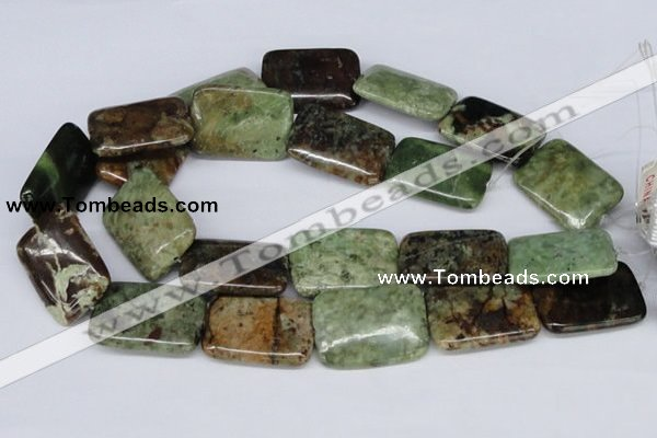 CRJ09 15.5 inches 25*35mm rectangle african prase jasper beads