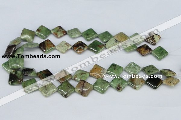 CRJ10 15.5 inches 16*16mm diamond african prase jasper beads