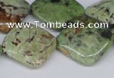 CRJ11 15.5 inches 25*25mm diamond african prase jasper beads