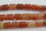 CRJ207 15.5 inches 8*10mm column natural red jade beads