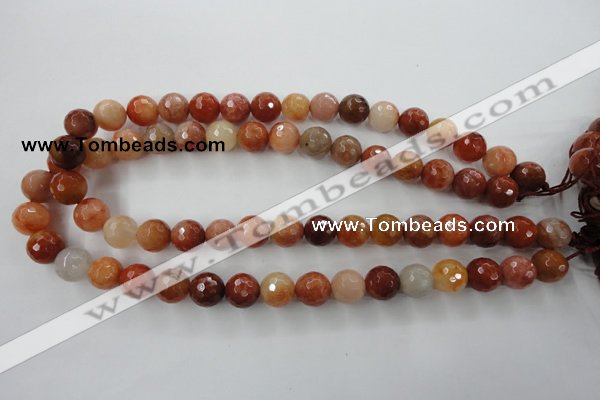 CRJ254 15.5 inches 12mm faceted round red jade gemstone beads