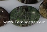 CRJ39 15.5 inches 25*35mm oval african prase jasper beads