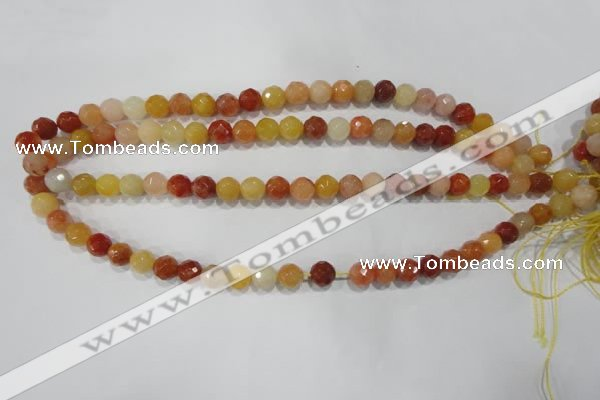 CRJ402 15.5 inches 8mm faceted round red & yellow jade beads