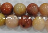 CRJ417 15.5 inches 16mm round red & yellow jade beads wholesale
