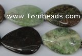 CRJ54 15.5 inches 20*30mm flat teardrop african prase jasper beads