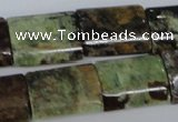CRJ72 15.5 inches 15*20mm flat tube african prase jasper beads