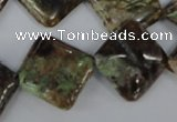 CRJ80 15.5 inches 20*20mm diamond african prase jasper beads
