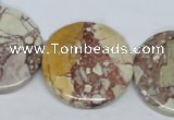 CRM04 15.5 inches 30mm coin red mud jasper gemstone beads wholesale