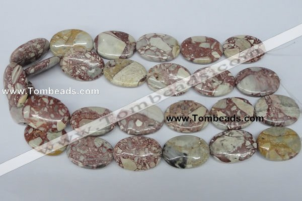 CRM06 15.5 inches 22*30mm oval red mud jasper gemstone beads wholesale