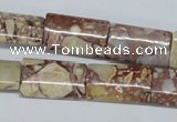 CRM07 15.5 inches 12*20mm flat tube red mud jasper beads wholesale
