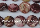 CRM53 15.5 inches 16mm flat round dyed red mud jasper wholesale