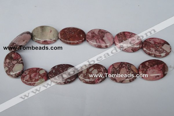 CRM55 15.5 inches 25*35mm oval dyed red mud jasper wholesale