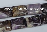 CRM83 15.5 inches 12*16mm rectangle dyed red mud jasper wholesale