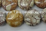 CRM95 15.5 inches 20mm flat round red mud jasper wholesale