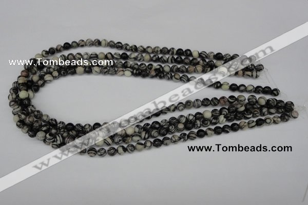 CRO10 15.5 inches 6mm round black water jasper beads wholesale
