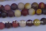 CRO1001 15.5 inches 6mm round matte mookaite gemstone beads