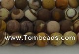 CRO1071 15.5 inches 6mm round matte brown zebra jasper beads