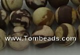 CRO1074 15.5 inches 12mm round matte brown zebra jasper beads