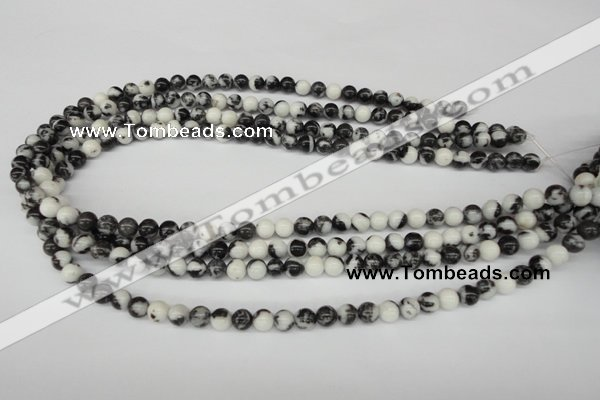 CRO11 15.5 inches 6mm round black & white jasper beads wholesale