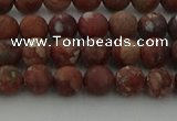 CRO1101 15.5 inches 6mm round matte pomegranate jasper beads