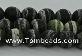 CRO1122 15.5 inches 8mm round matte green silver line jasper beads