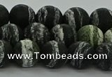 CRO1123 15.5 inches 10mm round matte green silver line jasper beads