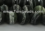 CRO1124 15.5 inches 12mm round matte green silver line jasper beads
