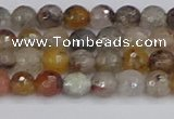 CRO1195 15.5 inches 4mm faceted round mixed lodalite quartz beads