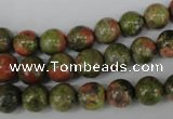 CRO131 15.5 inches 8mm round unakite gemstone beads wholesale