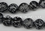 CRO284 15.5 inches 12mm round snowflake obsidian beads wholesale