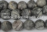 CRO322 15.5 inches 12mm round grey picasso jasper beads wholesale