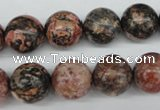 CRO324 15.5 inches 12mm round red leopard skin jasper beads wholesale