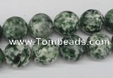 CRO348 15.5 inches 12mm round green spot gemstone beads wholesale