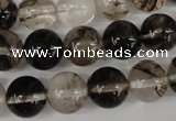 CRO370 15.5 inches 12mm round watermelon black beads wholesale