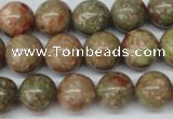 CRO380 15.5 inches 14mm round Chinese unakite beads wholesale