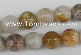 CRO384 15.5 inches 14mm round bamboo leaf agate beads wholesale