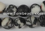CRO386 15.5 inches 14mm round black & white jasper beads wholesale