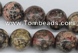 CRO403 15.5 inches 14mm round red leopard skin jasper beads wholesale