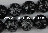 CRO404 15.5 inches 14mm round snowflake obsidian beads wholesale